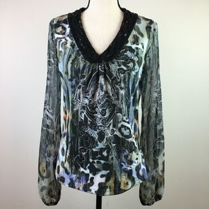 Alberto Makali Long Sleeve V Neck Top